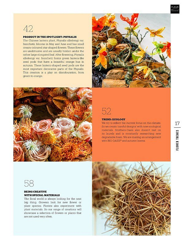 fleur creatif autumn issue 2020 autumn materials white flowers physalis floral art floral design floral news european championships 2021 fleuramour look back floral haistyles flower creations designs florist tips and tricks do it yourself step by step magazine fleur creatif world of flowers
