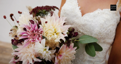 Hand-tied bridal bouquet with dahlias