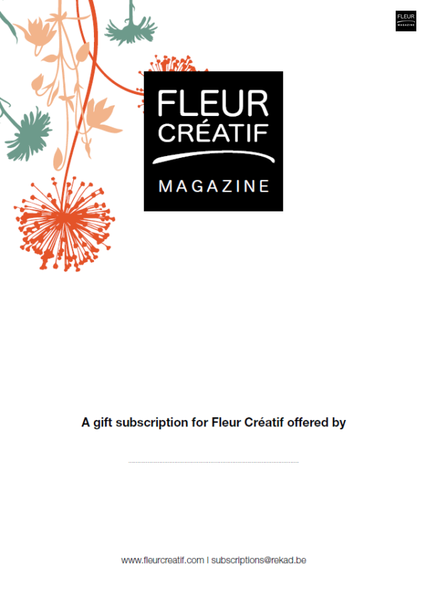 Fleur Creatif giftcard subscription gift subcription floral magazine flower magazine world leading magazine international floral art inspiration designs creativity fleur creatif magazine