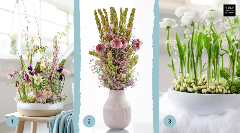 Fleur Creatif Magazine: Try this 3 simple ideas with spring flowers and materials.