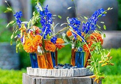 Fleur Créatif Magazine: Now in the summer issue: summer diy: Orange-blue floral sorbet
