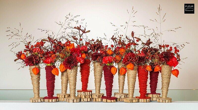 Fleur Creatif Magazine: Flower DIY for autumn by FLEUR@Home florist Charlotte Bartholomé: A play on red hues